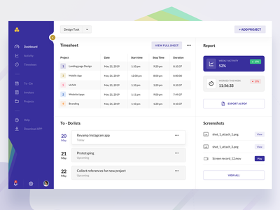 Time tracking web dashboard landing page colors ux clean new gradient design minimal download modern ui interactive design mockup screenshots to-do list todo clean ui time tracker web ui dashboard