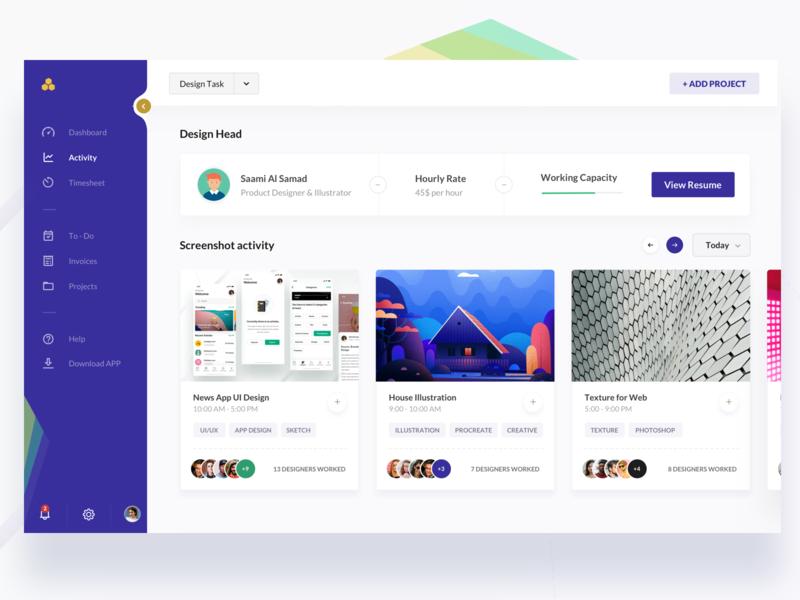 Dashboard Activity UI freelance profile designer new cards colors branding ux mockup clean dashboard gradient illustration design ios app minimal landing page web ui