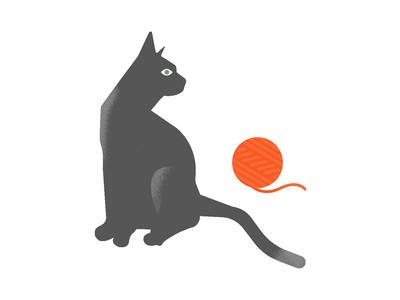 Kitty + Wool. wool kitty kitten cat design illustrator bold vector colour illustration