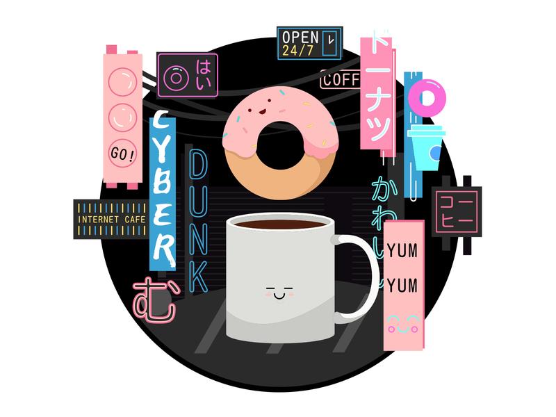 Cyber Dunk yum night neon city tokyo japan tshirt threadless coffee illustration donut cyberpunk