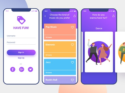 HAVE FUN! APP -  An easy way to do something cool. interface material tickets ui ux colors app fun have