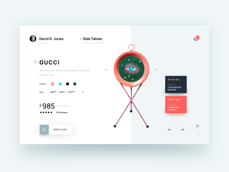 san francisco 675de 3f1a1 Gucci Table Online Shopping UI Concept by Pavel Panioukin on ...