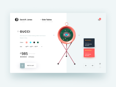 Gucci Table Online Shopping UI Concept