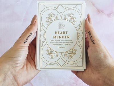 Heart Mender Deck self-care inner voice identity branding lotus symmetry cards deck of cards card deck love heartbreak breakup self-love mental health