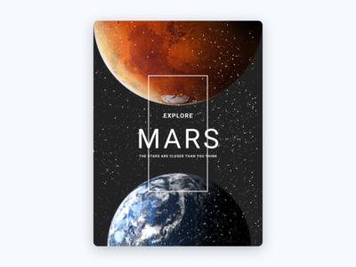 Mars Postcard postcard poster space earth mars weekly warm-up warmup typography vector illustration weeklywarmup figma design dribbbleweeklywarmup