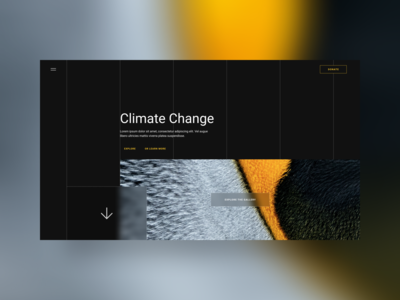 Climate Change Hero Section Exploration landing page hero section uidesign branding figmadesign webdesign dark theme dark app dark mode climate change ui design figma