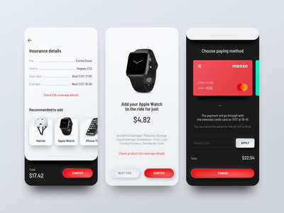 Insurance on Demand item coverage clean metal android ios sketch app black white red insurance app on demand insurance ux ui digital