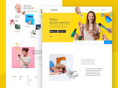 Landing_page_handyman_services web android ios landingpage product graphic design layout responsive services handyman emoji taskrabbit ikea modern fun yellow ux ui
