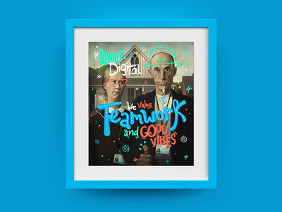 Deloitte Digital Frame #01 - American Gothic american gothic frame type colors photoshop illustration