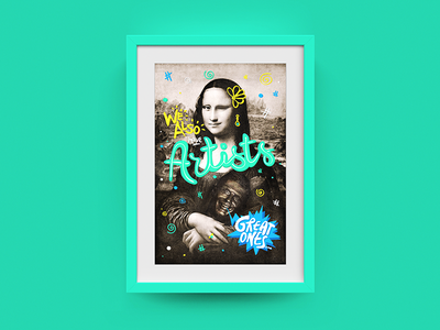 Deloitte Digital Frame #03 - Mona Lisa mona lisa frame type colors photoshop illustration
