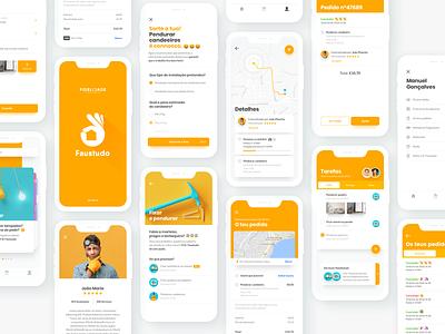 Faustudo zaask taskrabbit insurance handyman orange portugal xd sketch adobe logo app mobile vector colors ux ui digital design photoshop deloitte