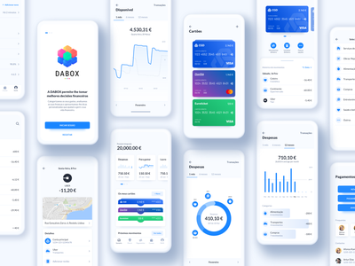 Dabox app coach financial app deloitte portugal digital uiux ui financial apple open banking tink monzo yolt account apple pay expenses blue
