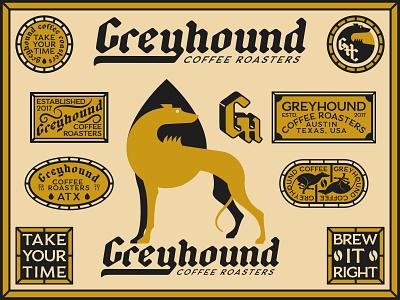 Greyhound Coffee coffee roaster coffee beverage drip texas austin inspiration geometric monogram badge vintage animal logo dog logo branding brand greyhound dog illustration
