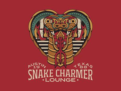 Snake Charmer Lounge snake logo flames restaurant lounge bar texas austin texas austin high heels snake cobra animal badge brand branding vintage logo tattoo design illustration