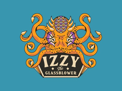Izzy The Glassblower animal badge geometric vintage eye tattoo tentacles tentacle ocean glassblower fish branding illustration design octopus logo octopus
