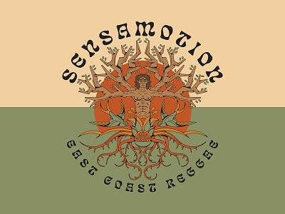 Sensamotion Man vintage psychedelic badge leaf floral flower compass roots music band illustration monoline animal swallow tattoo bird vitruvian man man tree