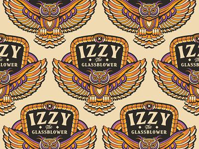 Izzy the Glassblower - Owl geometric birds typeography feather wings tattoo monoline animal logo animal bird snake patch branding logo owl logo badge brand eye owl