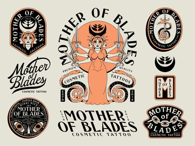Mother of Blades Branding greek brand logo script cosmetic mother serpent person face patch badge chain cosmetics tattoo eyes eye blade sword woman snake
