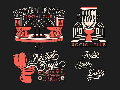 Bidet Boys vintage patch water waterfall logo tattoo illustration design social club bar brand badge fountain toilet bidet
