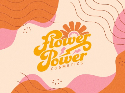 Flower Power Cosmetics vintage modern 70s makeup floral script logotype plants organics organic cosmetics electric power flower brand branding logo design illustration