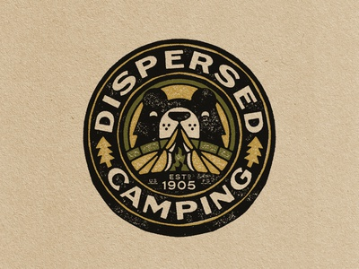 Dispersed Camping design animal forest grizzly bear logo vintage outdoors patch badge camping tent camp bear