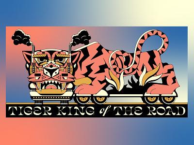 Tiger King of The Road vintage poster typography teeth steam eye eyes wheels predator big cat lion trucking landscape machine cat animal car truck tiger king tiger