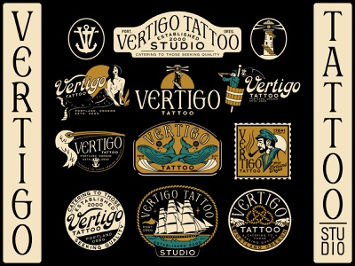 Vertigo Tattoo Branding anchor stairs branding rope sign hands pipe womans woman pelican knot lighthouse crowsnest nautical whale clipper ship sailor mermaid illustration