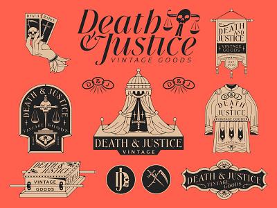 Death & Justice Branding cards chain tattoo brand vintage crest monogram stars tents banner scythe knife sword eye robe taroh hand scale tent skull