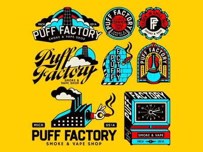 Puff Factory brand identity hands tattoo design branding rainbow brick bricks hand pipe vintage badge gear vape smoke clock clouds factory michigan brand