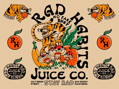 Rad Habits Juice Co. lightning bolt big cat tigers apparel brand illustraion vegitable orange tiger head tattoo radio badge cat kale banana animal mushroom fruit juice tiger