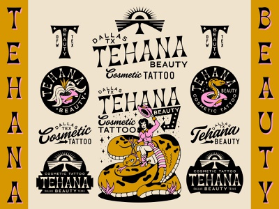 Tehana Beauty Branding floral branding vintage traditional tattoo cosmetic tattoo tattoos dallas texas animal monogram plants hat southwest badge logo tattoo snakes woman eye snake