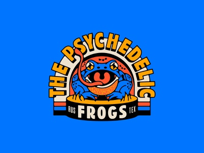 The Psychedelic Frogs amphibian texas austin typeography type logo vintage psychedelic tattoo animal logo frogs crest branding vector animal badge design illustration frog