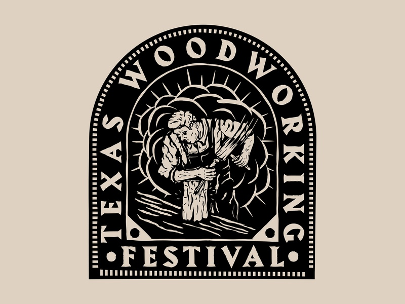 Texas Woodworking Festival - Arch Design woodblock badge logo badgedesign patch badge woodworking texas