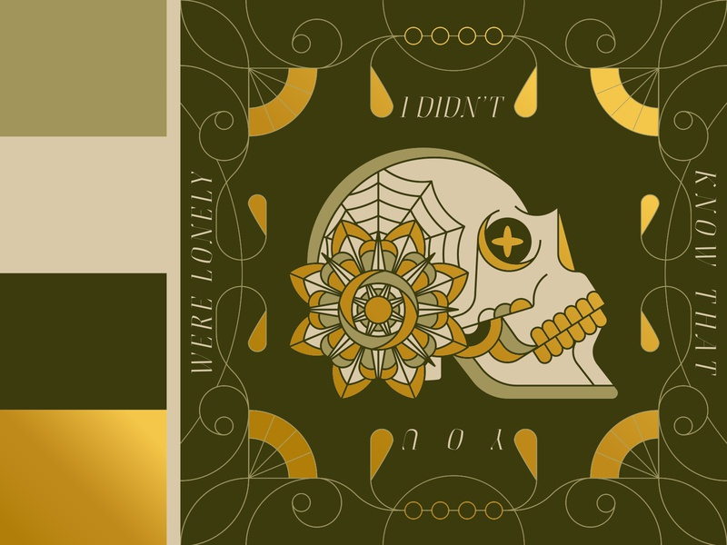 Lonely Skull vintage eye tattoo geometric color golden gold head mouth teeth spider spiderweb filagree lonely fka twigs art noveau monoline floral flower skull