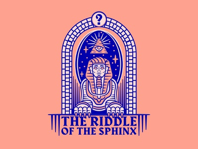 The Riddle of the Sphinx simple typography linework geometrical geometric beard person face travel eye lion education question stars sky egyptian pyramid riddle egypt sphynx