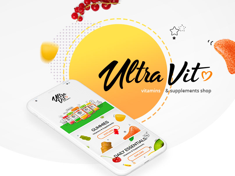 Vitamins & Supplements shop orange grey gummy berries health vitamins fruits playful shopify ecommerce gradient design webdesign uiux ui