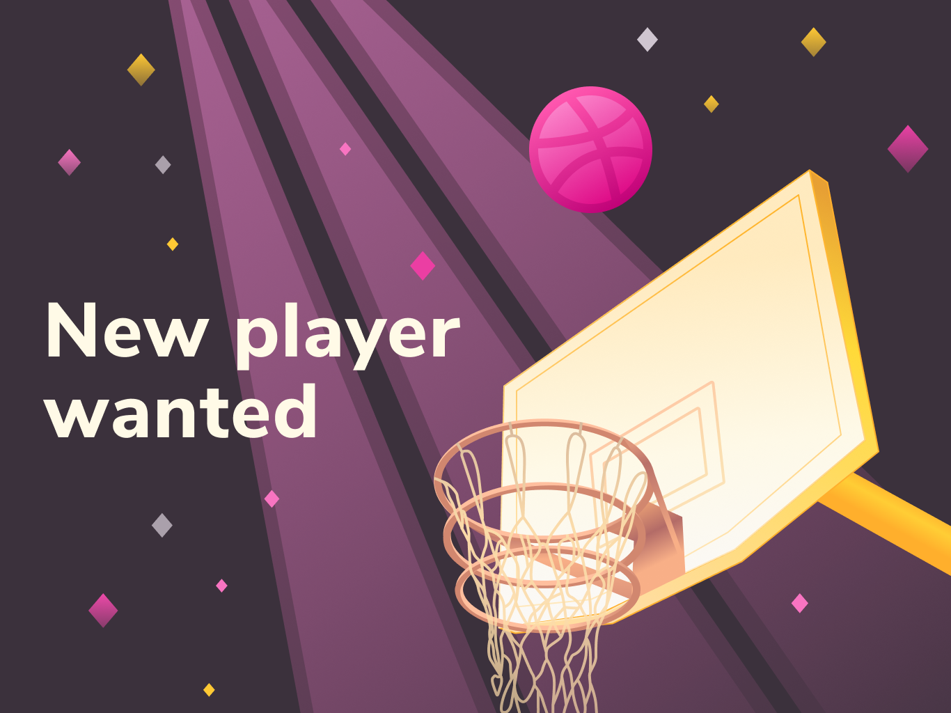 Dribbble invite violet pink gradient play player basketball illustraion vectorart vector design invitation invite dribbble