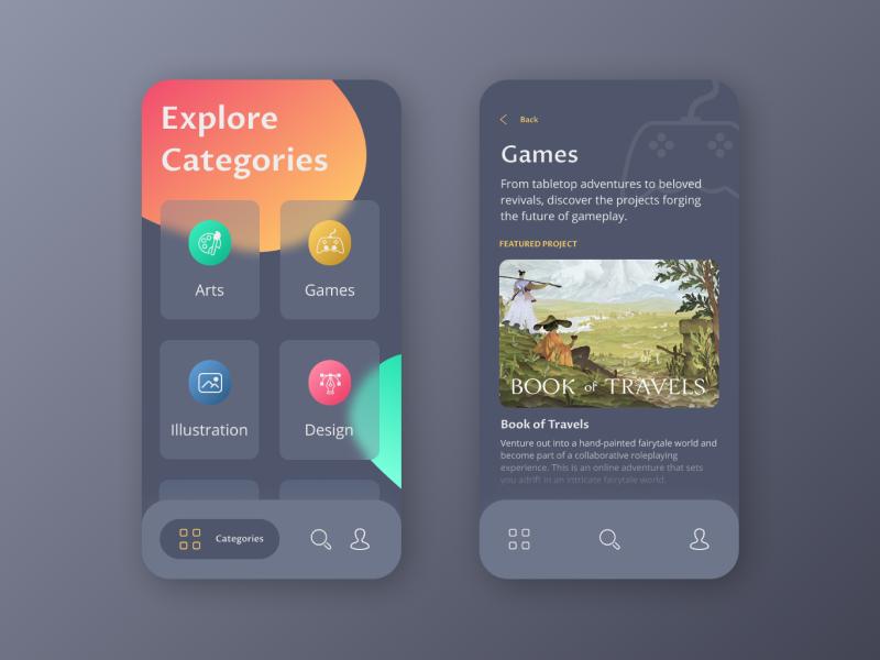 Crowdfunding campaign interface designconcept crowdfundingcampaign ux ui webdesign mobiledesign darkui darktheme dailyuichallenge dailyui mobileui