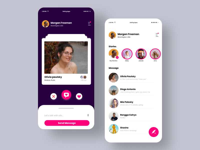 Dating Apps white dark pink mobile minimal aplication web branding leanding page website design ux simple app typography icon blue ui flat clean