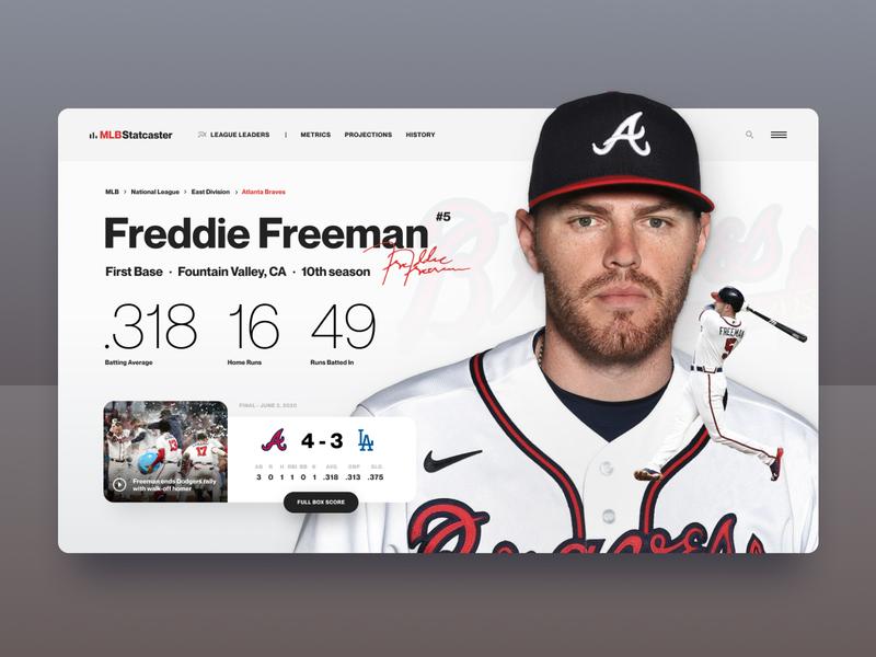 MLB Player Profile team player hero interface website mlb braves sports baseball stats landing ui web