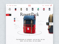 Rover Pack Product Page grid outdoors reviews ecommerce backpack product ui website interface