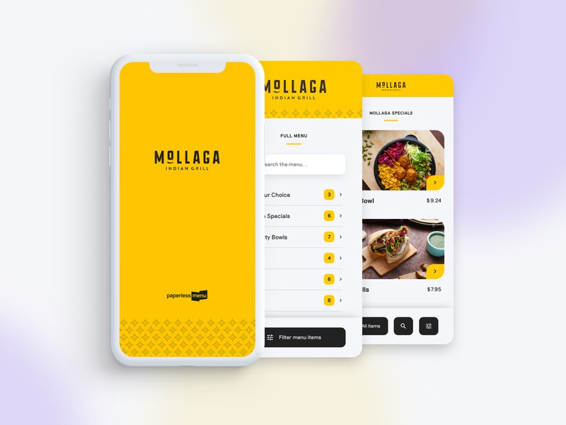 Paperless Menu App restaurant filter food ordering menu interface website app ux ui