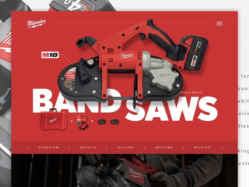 Milwaukee Product Page saw ecommerce hero header isolated preview product tools interface website ui web