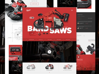 Milwaukee Product Page Full spec testimonials tools saw product hero isolated header ecommerce interface website ui