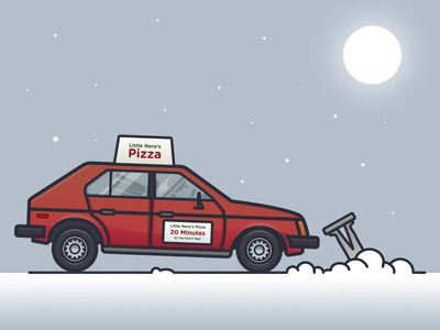 Little Neros Pizza delivery vector car movie christmas snow illustration pizza home alone merry christmas
