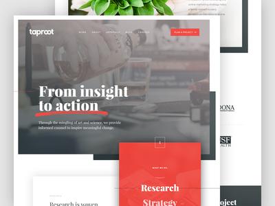 Taproot Homepage design rebrand website web interface ui header video homepage
