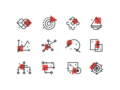 Taproot Icons illustration digital branding strategy research puzzle heart abstract line icons