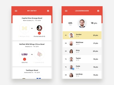 College Football Pick'em Redesign card entry leaderboard contest sports college football ux ui app