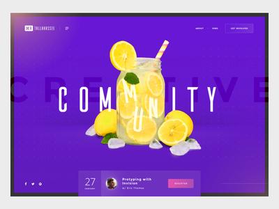 Refresh Tallahassee community mason jar drink interface hero masthead homepage refresh lemons ui website