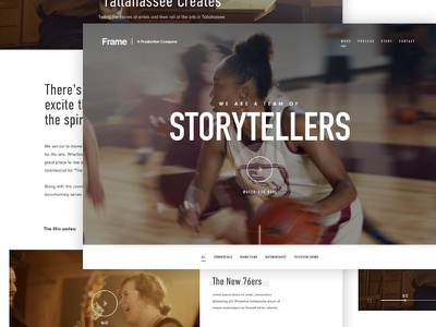 Frame | A Production Company masthead film basketball player video interface ui web